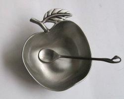Apple Shaped Metal Honey Dish