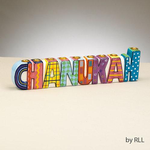 """""""CHANUKAH"""" Hand Painted Ceramic Menorah"""