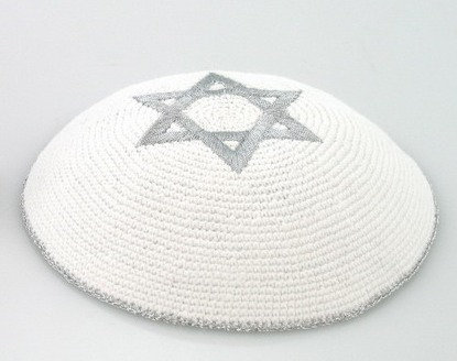 White Kippa with Silver Star of David