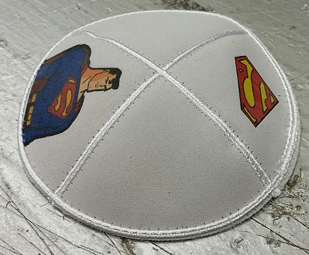 Superman White Kippa