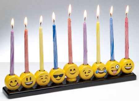 MENORAH, EMOJI, HAND PAINTED CERAMIC