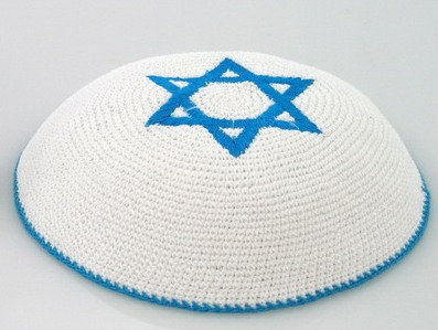 White Kippa with Blue Star of David