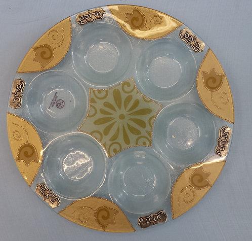Sand COlour Pom Glass Seder Plate