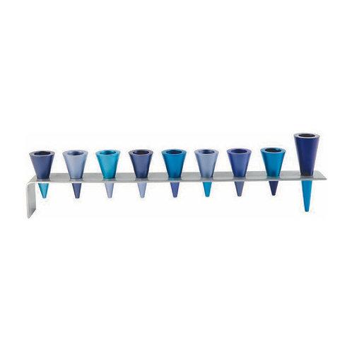 Aluminum Menorah with Cone Candleholders Blue