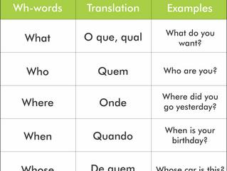 5 palavras com WH para perguntar em inglês.