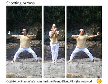 "Cosmos Qigong, Lifting the Sky, Sifu Angel, Shaolin Wahnam Institute, Wong Kiew Kit. Eight Pieces of Brocade, Eighteen Lohan Hands, Shooting Arrows,The holding of the hands is in the ""One-Finger Zen"" hand form, which is a typical Shaolin hand form. If you see someone holding the hand in the form of a fist with one finger sticking out, you can reasonably conclude that he has not learnt it in a proper way from a Shaolin Master. It promotes health of the lungs and eyes."
