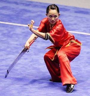 A modern wushu pattern demonstrated by a wushu champion.