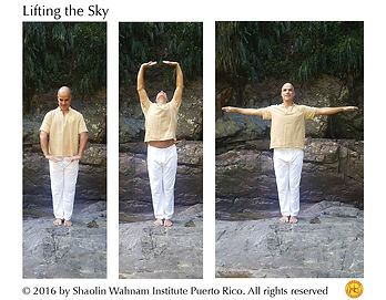 "Cosmos Qigong, Lifting the Sky, Sifu Angel, Shaolin Wahnam Institute, Wong Kiew Kit, Eight Pieces of Brocade, Eighteen Lohan Hands, Lifting the Sky. This pattern is also found in many other kinds of Qigong. This is not surprising because ""Lifting the Sky"" is one of the best of all Cosmos Qigong exercises. Promotes Qi flow in the whole body, corrects posture, helps relax, promotes confidence, heals Hemorrhoids and Migraine."