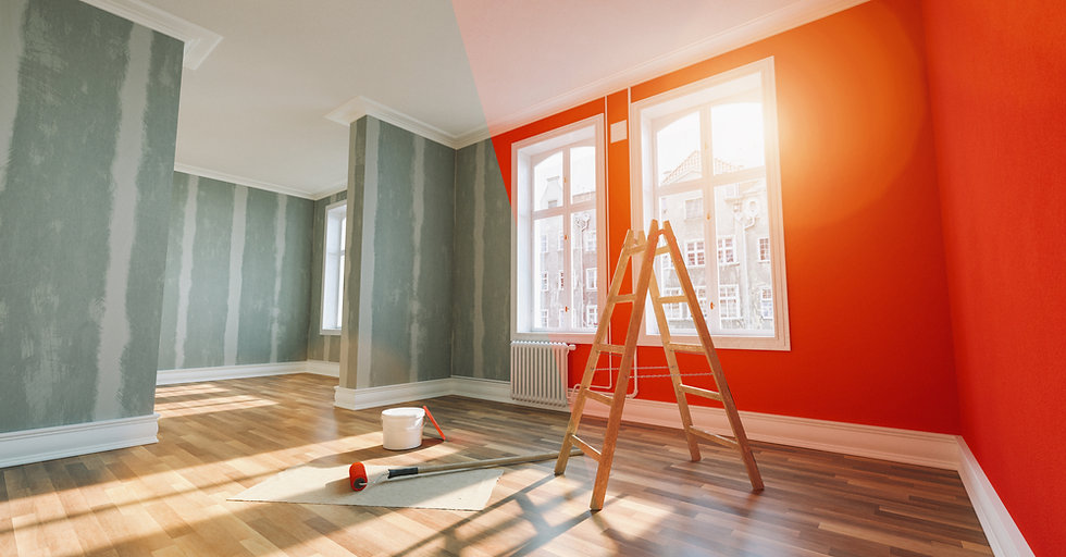 Painting wall red in room before and aft