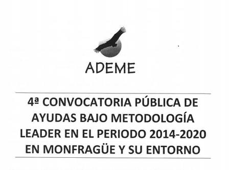 Publicada la 4ª Convocatoria Pública de Ayudas LEADER 2014-2020 en Monfragüe y su Entorno