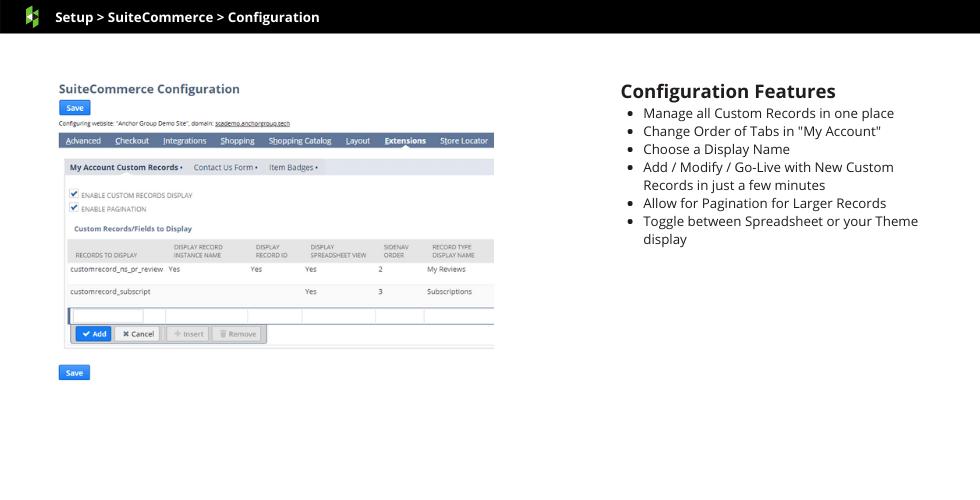 Display Custom Records Example Screen