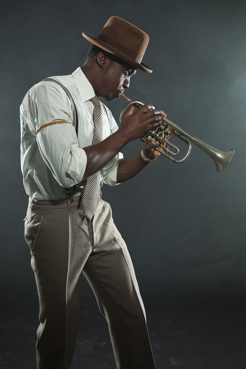 Black african american jazz trumpet play