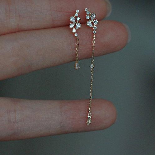 Crystal Irregular gold earrings