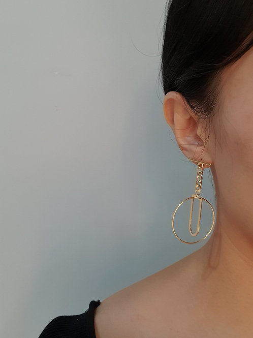 circle chain gold earrings
