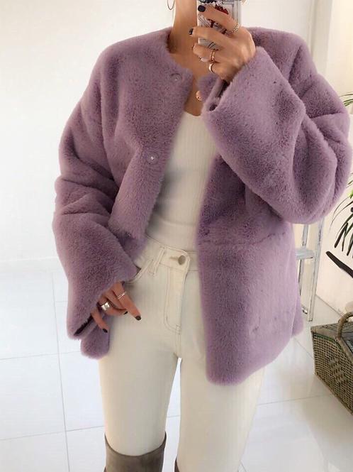 Reversible faux lambskin coat