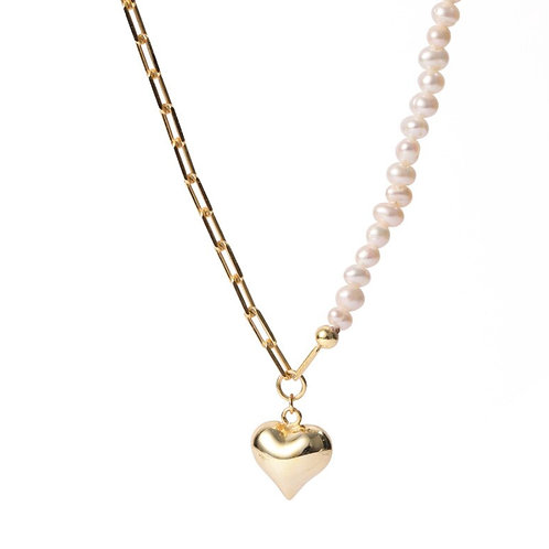 half pearl Heart necklace