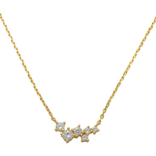 14K Solid Gold CZ Pendant Chain Necklace