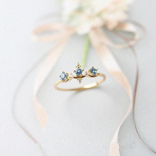 Gold vermeil Blue Crystal Ring