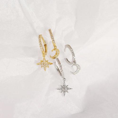 star and moon huggie earrings