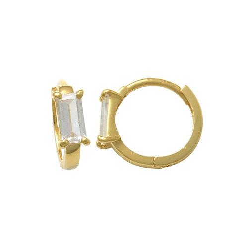 14K Solid Gold Baguette Huggie Earrings