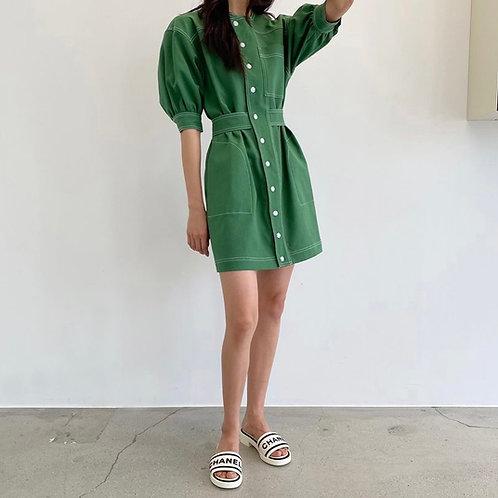puff sleeve casual dress