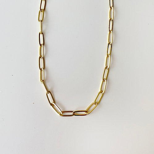 24K gold filled paper clip chain necklace.