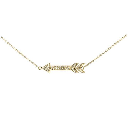 Diamond Arrow Pendant 14K Gold Necklace