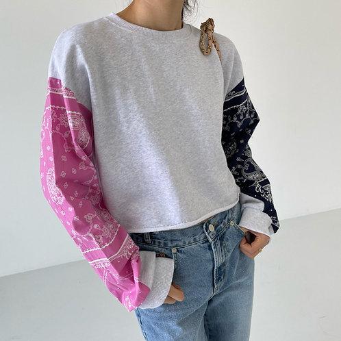 Paisley point crop top sweatshirts