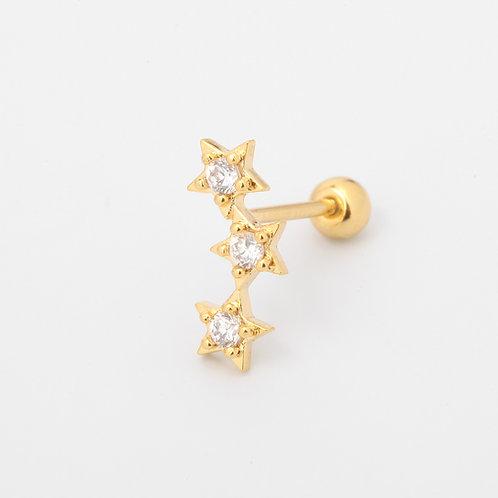Stars piercing stud earring