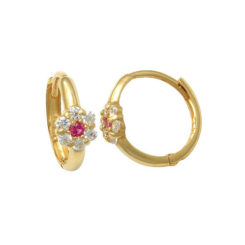 14K Solid Gold CZ Flower Ruby Huggie Earrings