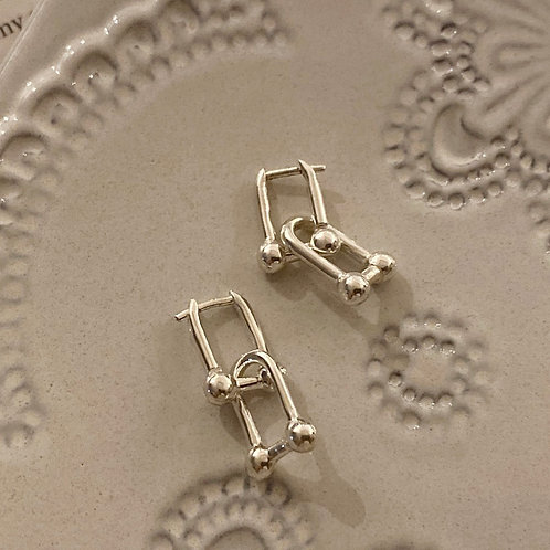 925 silver ball clip earrings