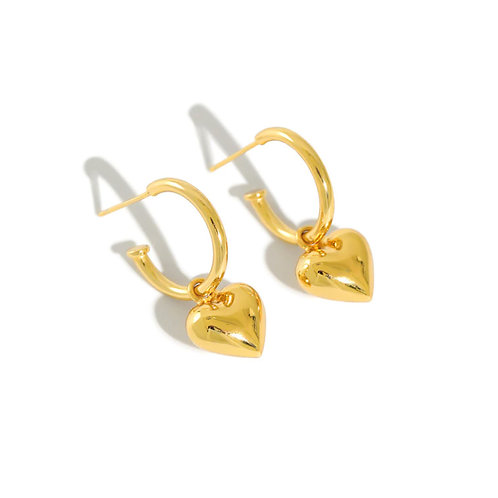 Heart drop vermeil Earrings.