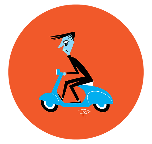 """The Ghoul On A Vespa 2.25"""" Button"""