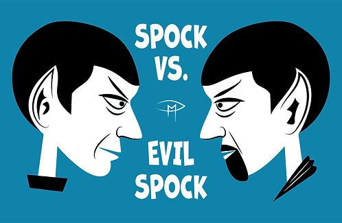 """""""Spock Vs Evil Spock"""" Blue 11""""x17"""" Poster"""