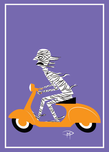 """The Mummy On A Vespa"" Greeting Card 5""x7"""