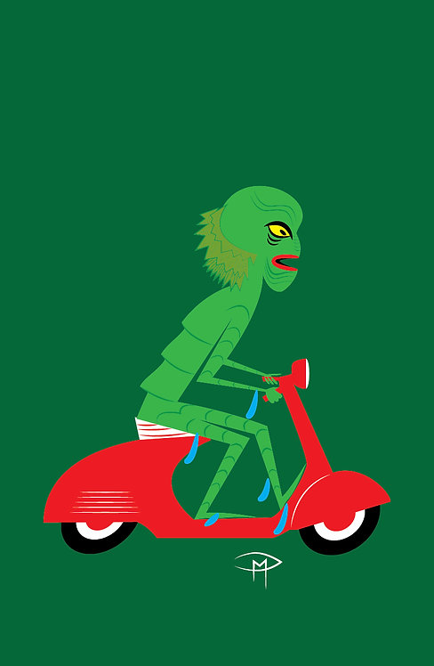 """""""The Creature On A Vespa"""" 11""""x17"""" Poster"""