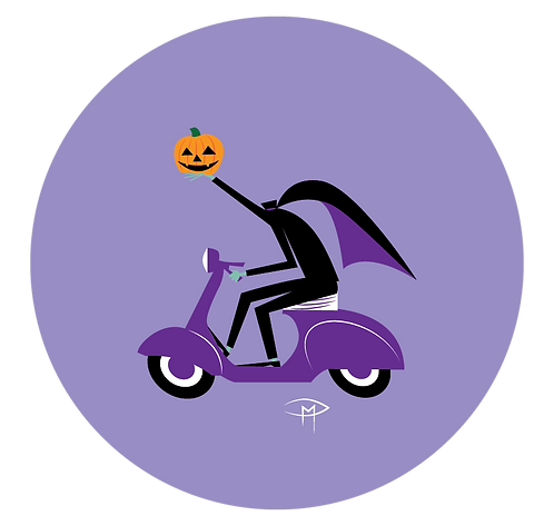 "Headless Horseman On A Vespa 2.25"" Button"