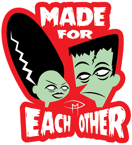 """Made For Each Other"" Die Cut Sticker"