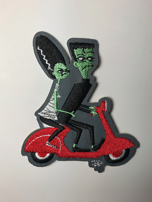 """Frankie And Bride On A Vespa"" Embroidered Sew-On Patch"