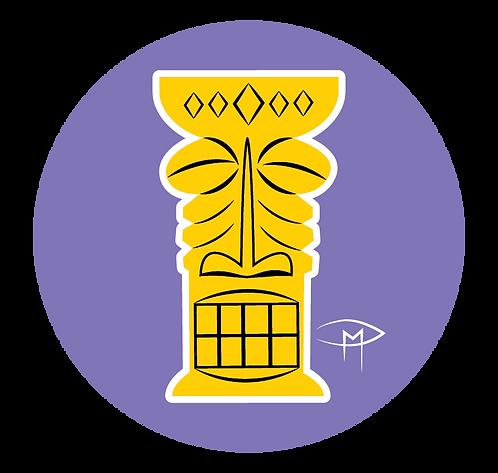 """""""Yellow Tiki Purple Background"""" 2.25"""" Button"""