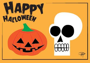 """Pumpkin And Skull"" 3.5""x5"" Halloween Card & Envelope"