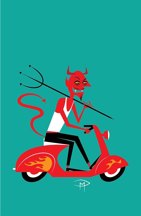 """""""Devil On A Vespa 11""""x17"""" Poster"""