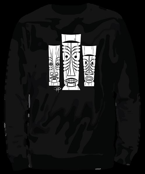 Three Tiki's Unisex Sweatshirt Black XL