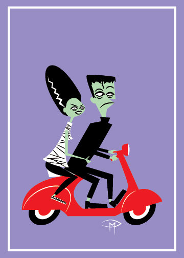 """Frankie And Bride On A Vespa"" Greeting Card 5""x7"""