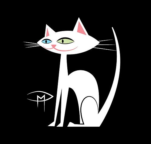 "White Kittie Black Background 2.25"" Button"