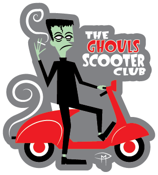"""""""The Ghouls Scooter Club"""" Die Cut Sticker"""