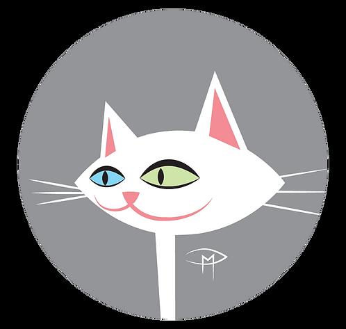 "White Kittie Face Gray Background 2.25"" Button"