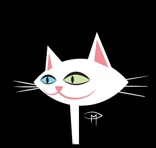 "White Kittie Face Black Background 2.25"" Button"