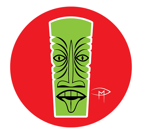 """Green Tiki Red Background"" 2.25"" Button"