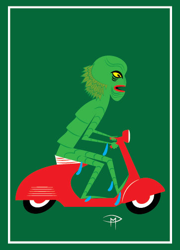 """The Creature On A Vespa"" Greeting Card 5""x7"""